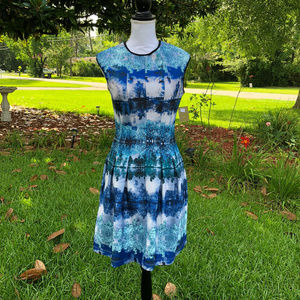 Melonie T Blue/Teal Sleeveless Fit and Flare Dress